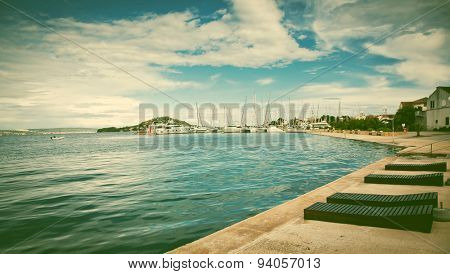 small fishermen town on Island of Ugljan panoramic view, Dalmatia, Croatia