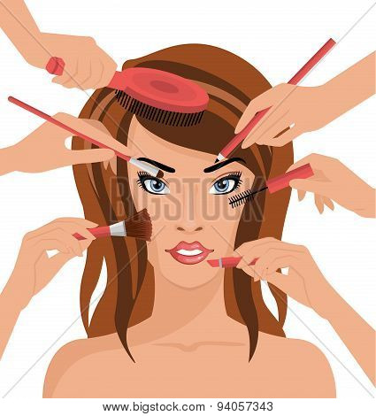 Many Hands With Cosmetics Brush Doing Makeup of Girl