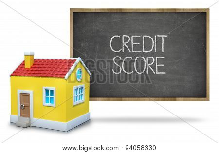 Credit score text on blackboard with 3d house