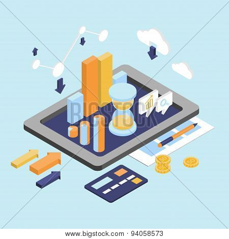 Flat 3d Isometric Business Finance Analytics, Chart Graphic Report