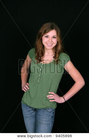 Young Teen In Green Shirt