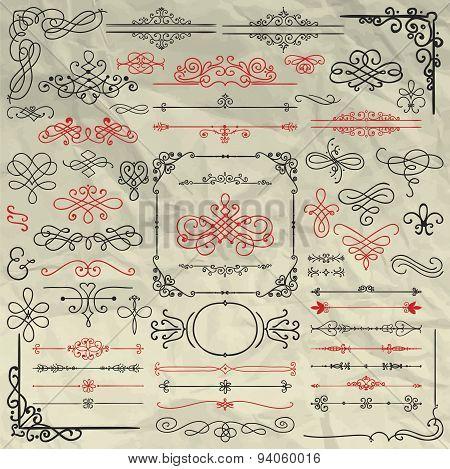 Sketched Decorative Design Elements on Crumpled Paper
