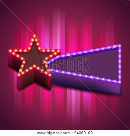 Retro Poster With Neon Star Board