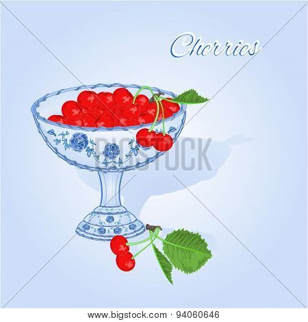 Cherries In A Blue Cup Vector