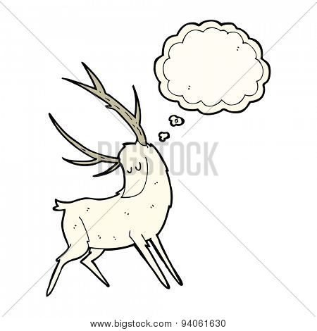 cartoon white stag with thought bubble