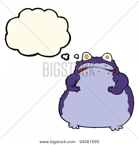 cartoon fat frog with thought bubble