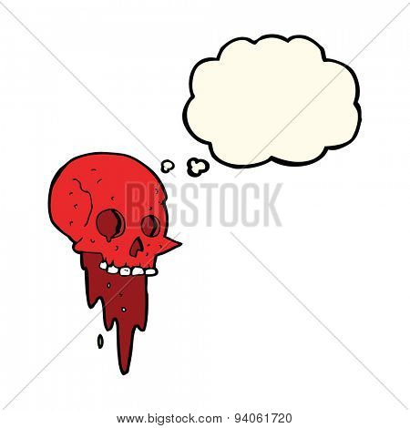 gross halloween skull cartoon with thought bubble