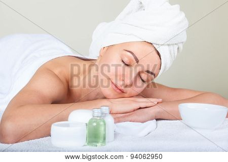 Closeup Portrait Of Attractive Woman Enjoying Day Spa In Luxury Beauty Salon