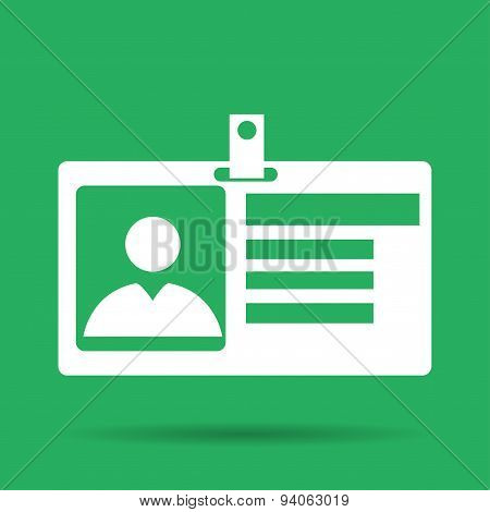 Identification Card Icon. Flat Design Style.