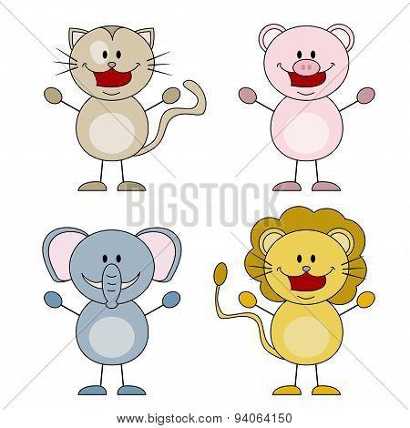 Cat, pig, elephant, lion