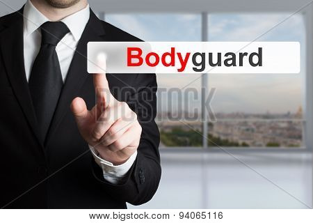 Businessman In Suit Pushing Flat Button Bodyguard