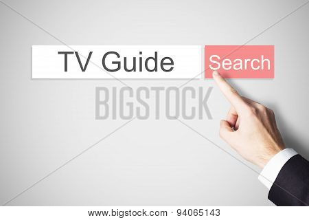 Hand Pushing Red Web Search Button Tv Guide