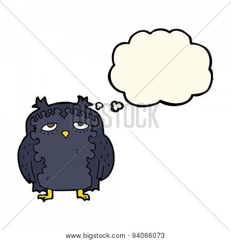 cartoon wise old owl with thought bubble