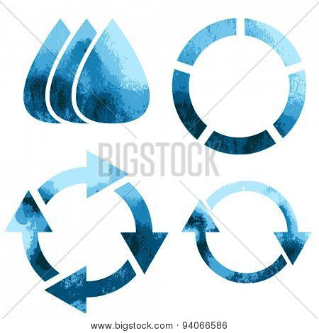 Blue water eco symbols