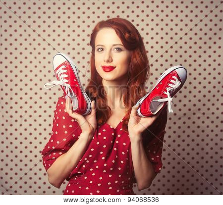 Portrait Of Redhead Girl With Gumshoes
