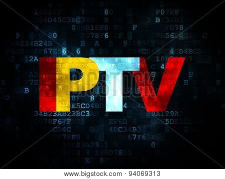 Web design concept: IPTV on Digital background