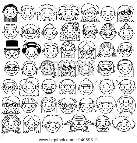 Vector Cartoon Face Isolated On White Background