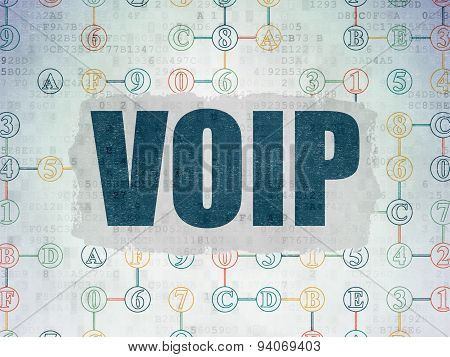 Web design concept: VOIP on Digital Paper background