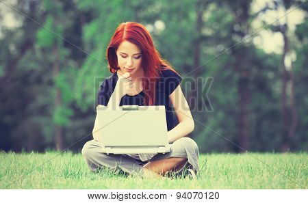 Girl In Indie Style Clothes With Notebook