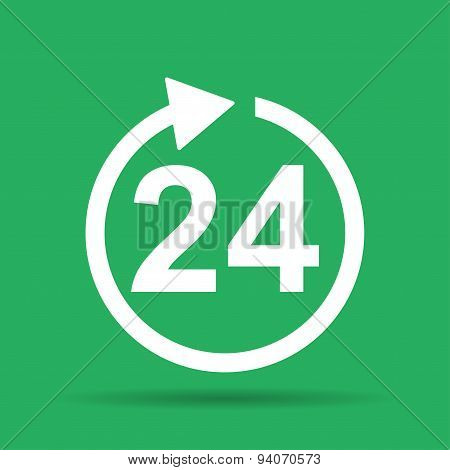 24 Hours Icon. Flat Vector Icon