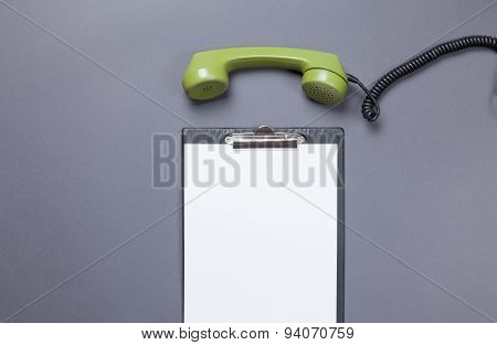 Business Board And Green Handset