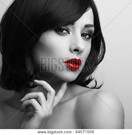 Beautiful Short Hair Style Woman With Red Lips Looking Sexy. Black And White Contrast Closeup Portra