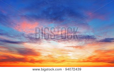 Texture Of Bright Evening Sky During Sunset