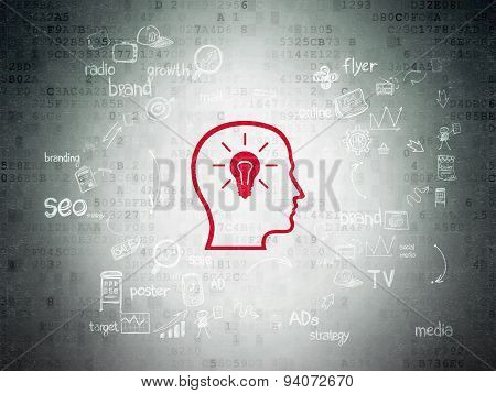 Marketing concept: Head With Lightbulb on Digital Paper background