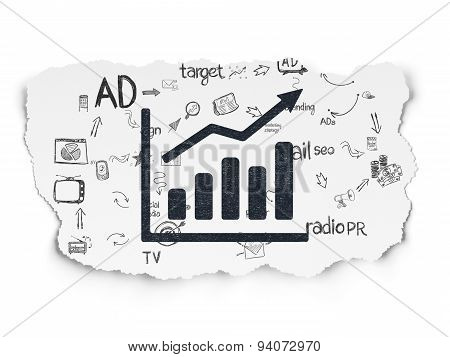 Advertising concept: Growth Graph on Torn Paper background