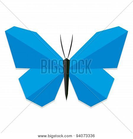Vector Low Poly Style Blue Butterfly Isolated