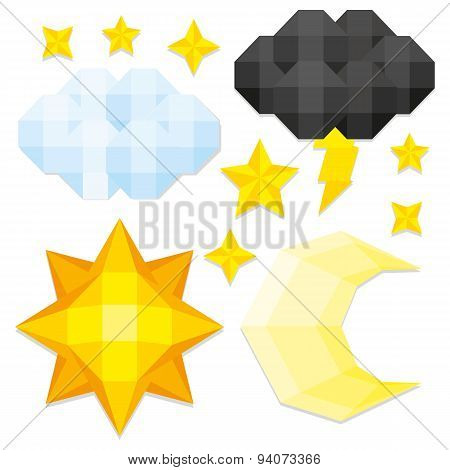 Vector Set Of Low Poly Style Elements Isolated