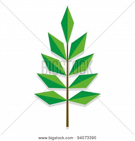 Vector Low Poly Style Branch Icon Isolated