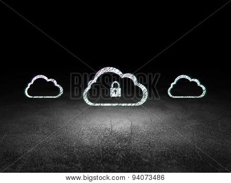 Cloud technology concept: cloud with padlock icon in grunge dark room
