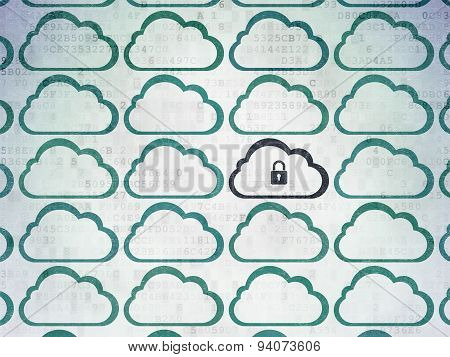 Cloud networking concept: cloud with padlock icon on Digital Paper background