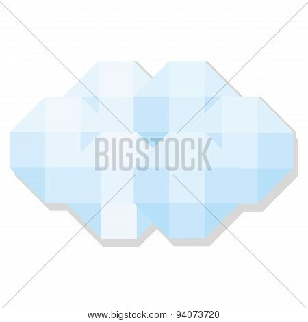 Vector Low Poly Style Cloud Isolated On White Background