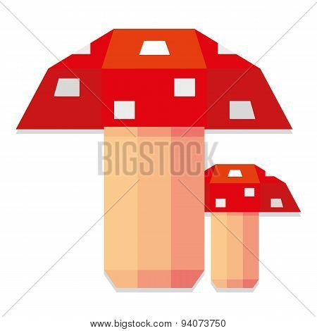 Vector Low Poly Style Red Muchrooms Isolated