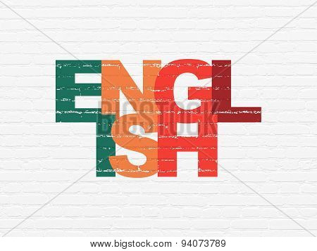 Learning concept: English on wall background