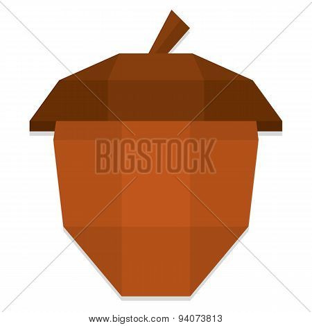 Vector Low Poly Style Brown Acorn Isolated