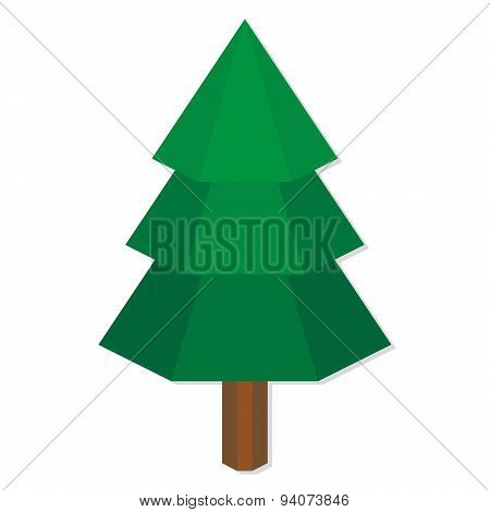 Vector Low Poly Style Green Pine Isolated