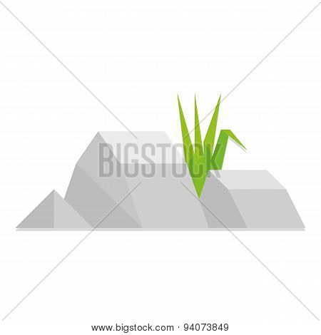 Vector Low Poly Style Group Of Rocks Isolated