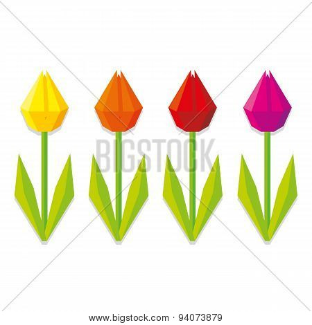 Vector Low Poly Style Flowers Isolated