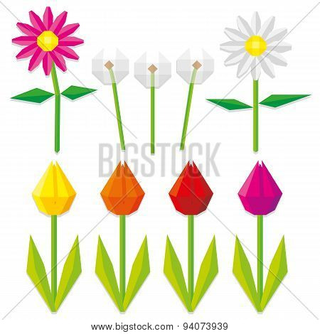 Vector Set Of Low Poly Style Flowers Isolated