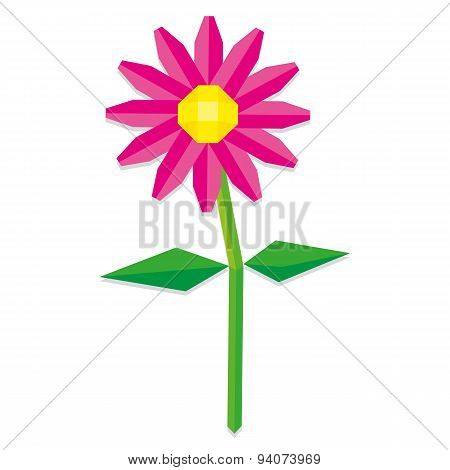 Vector Low Poly Style Pink Flower Isolated