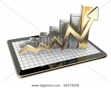 Gold Graph And Chart On Tablet Pc - Business Statistic Concept.