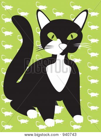 Black Cat On Mouse Background