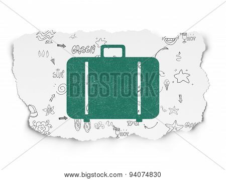 Vacation concept: Bag on Torn Paper background