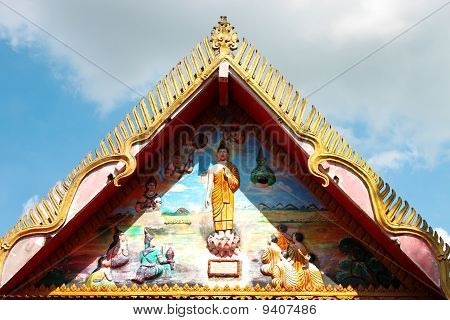 Buddhist Art Painting And Carving On Gable Of Temple