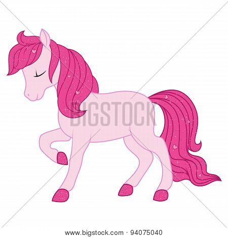 Pink horse illustration.