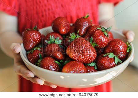 Child Hands Holding A Bowl Of Ripe Strawberries