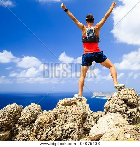 Happy Man Reaching Life Goal Success Inspiration